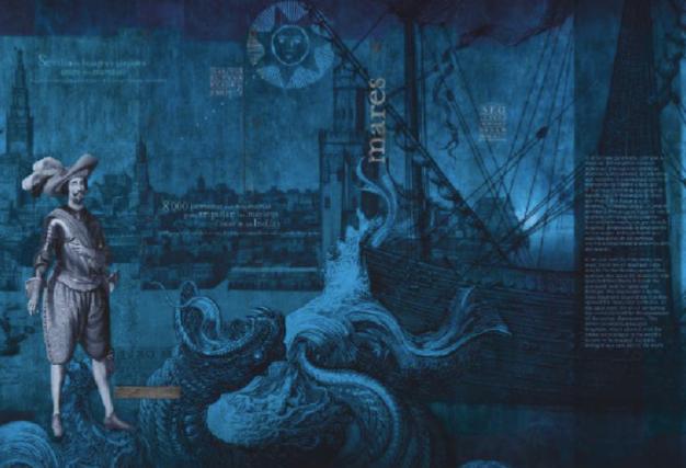 Vista nocturna del Pabellón de la Navegción